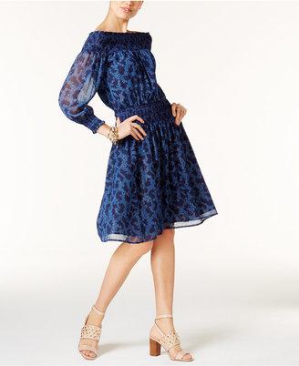MICHAEL Michael Kors Off-The-Shoulder Peasant Dress $175 thestylecure.com