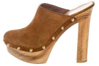 Gucci Suede High Heel Clogs