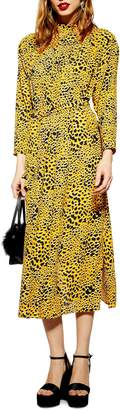 Topshop Abstract Animal Print Midi Dress
