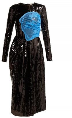 Preen by Thornton Bregazzi Stephanie Sequinned Panelled Midi Dress - Womens - Black Blue