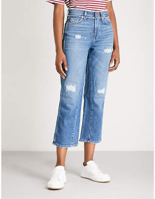 7 For All Mankind Distressed cotton-denim jeans