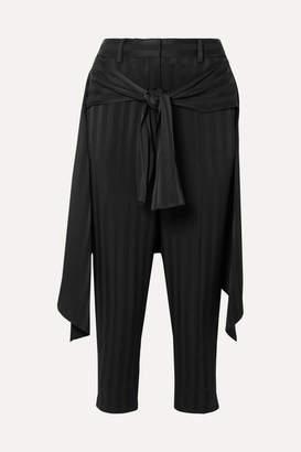Hellessy Sentry Cropped Tie-detailed Jacquard Straight-leg Pants - Black
