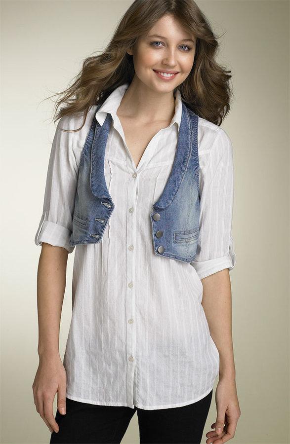 Rubbish® Crop Stretch Denim Vest (Juniors)