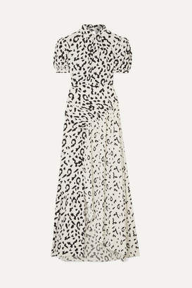 Self-Portrait Open-back Ruched Leopard-print Jersey Maxi Dress - Cream