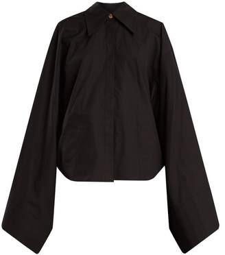 A.w.a.k.e. - Kimono Sleeve Cotton Poplin Top - Womens - Black