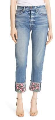 Alice + Olivia AO.LA Amazing Embroidered Cuff Slim Girlfriend Jeans