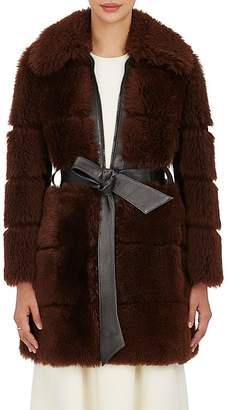 Chloé WOMEN'S QUILTED SHEARLING BELTED COAT