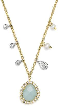 Meira T 14K White & Yellow Gold Milky Aquamarine, Diamond & Dangling Cultured Freshwater Seed Pearl Necklace, 16""