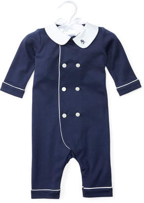 Ralph Lauren Double-Breasted Cotton Coverall, French Navy, Size 3-12 Months