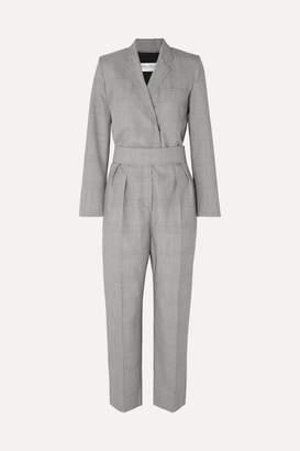 Max Mara Prince Of Wales Checked Wool Jumpsuit - Gray
