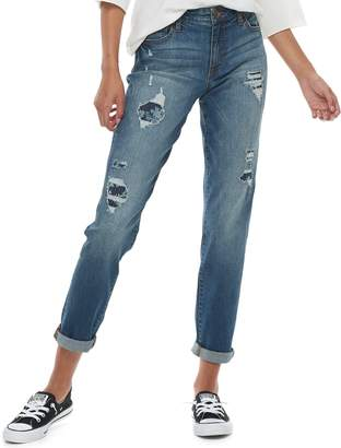 Tinseltown Juniors' Mid-Rise Rip & Repair Floral Roll-Cuff Ankle Skinny Jeans