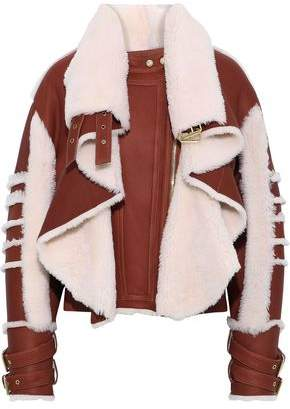 Balmain Paneled Leather And Shearling Biker Jacket