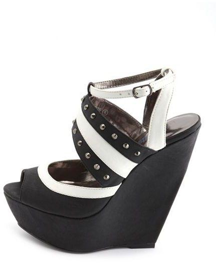 Charlotte Russe Studded Color Block Wedge Sandal