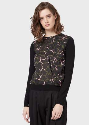 Emporio Armani Sweater With Crepe Voile Leoflower Insert