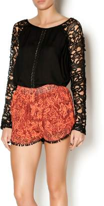 Double Zero Black Lace Sleeve Blouse