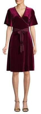 Calvin Klein Self-Tie Velvet Faux Wrap Dress