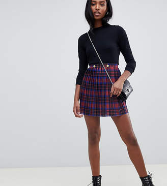 Asos Tall DESIGN Tall pleated mini skirt in check with gold buttons
