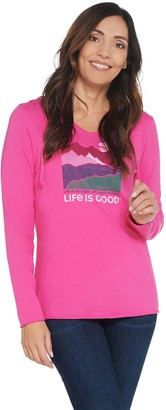 Life is Good Graphic Long Sleeve Hooded Smooth Tee