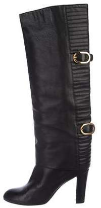 Sergio Rossi Leather Round-Toe Knee-High Boots