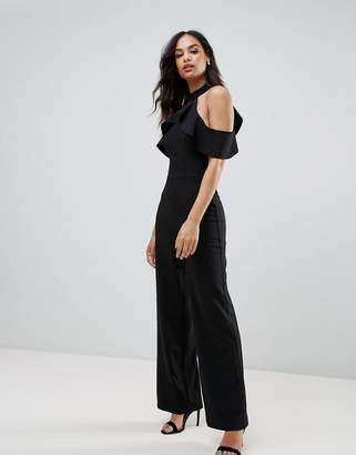 Lipsy Cold Shoulder Jumpsuit with Frill detail