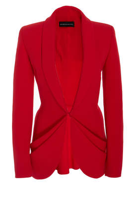 Brandon Maxwell Draped Pocket Blazer