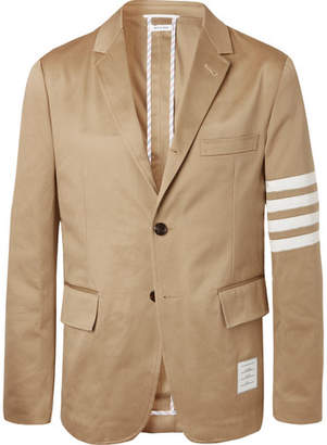 Thom Browne Tan Slim-Fit Unstructured Striped Cotton-Twill Blazer