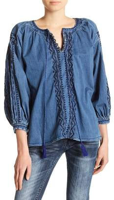 Grace In LA Denim Embroidered Front Tie Blouse
