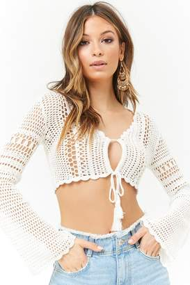 Forever 21 Crochet Bell-Sleeve Crop Top