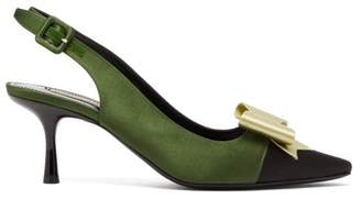 Gabor Fabrizio Viti Bow Embellished Satin Slingback Pumps - Womens - Green Multi