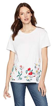 Serene Bohemian Women's Round Neck Basic Tee with Floral Embroidery at The Hem (