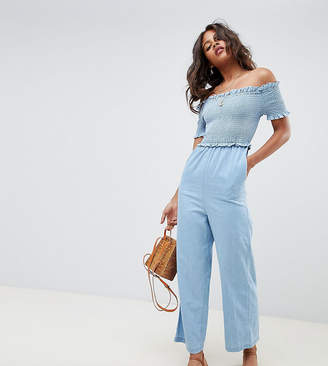 Bardot ASOS Tall ASOS DESIGN Tall denim shirred jumpsuit in lightwash blue