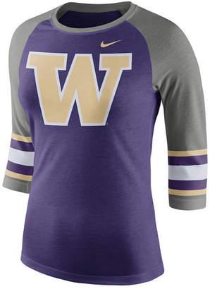 Nike Women's Washington Huskies Team Stripe Logo Raglan T-Shirt