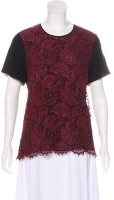 Jason Wu Lace-Paneled Short Sleeve Top