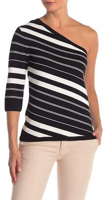 Anne Klein One-Shoulder Striped Sweater