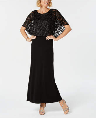 Connected Embroidered Capelet Gown