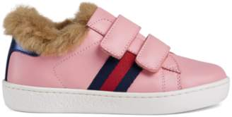 Gucci Toddler Ace leather sneaker with faux fur