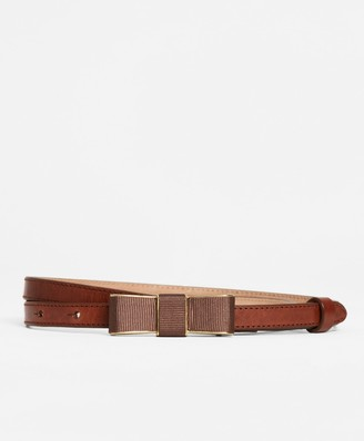 Brooks Brothers Leather Bow-Buckle Belt