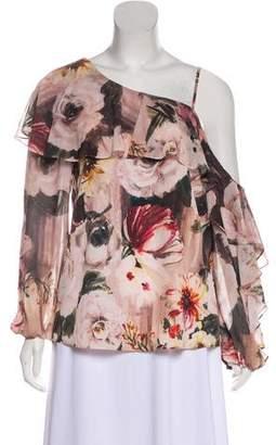 Haute Hippie Floral Print One-Shoulder Blouse