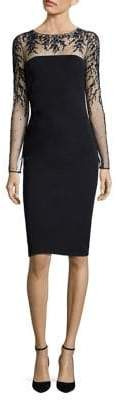 David Meister Embroidered Illusion Sheath Dress