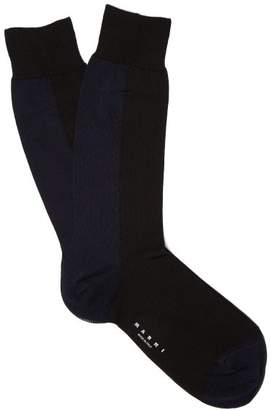 Marni Two Tone Ribbed Knit Socks - Womens - Black Multi