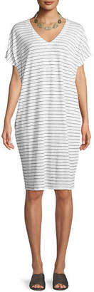 Eileen Fisher Short-Sleeve Thin-Striped Linen Dress