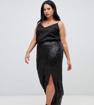 9b0670b9fc7 Outrageous Fortune Plus sequin maxi wrap skirt with front split in black