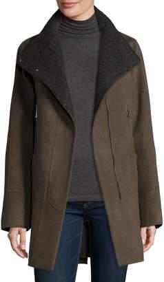 Elie Tahari Double-Faced Wool-Blend Swing Coat Deep Mocha