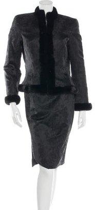 Escada Mink-Trimmed Brocade Skirt Suit $425 thestylecure.com