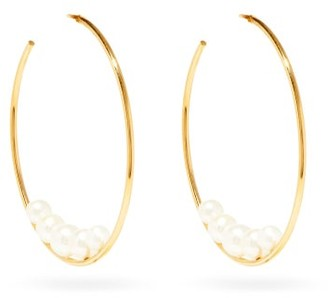 Mizuki Pearl & Gold Hoop Earrings - Womens - Pearl
