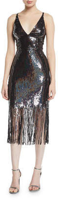 Dress the Population Frankie Sequin Fringe Sleeveless Dress