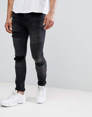 at ASOS Asos Super Skinny Jeans With Abrasions In Biker Style