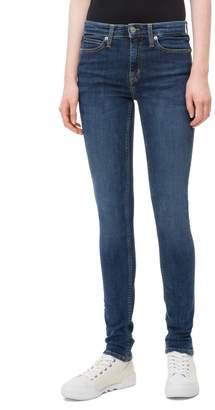 Calvin Klein Womens Jeans Blue Mid Rise Skinny Jean - Blue