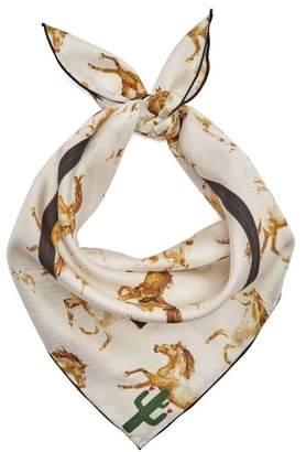 Ganni Horse Print Silk Scarf - Womens - White