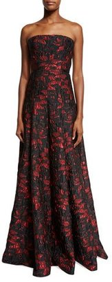 Carmen Marc Valvo Strapless Floral Brocade Ball Gown, Black/Red $1,495 thestylecure.com